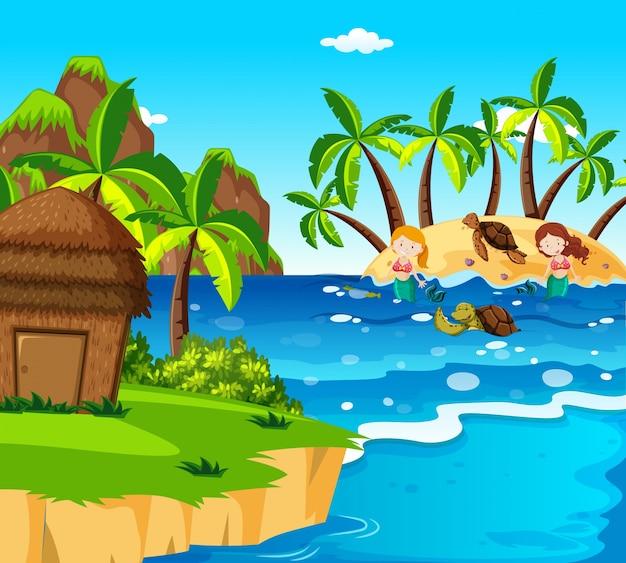 島の人魚とカメ