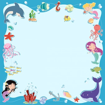 Mermaids frame and sea background