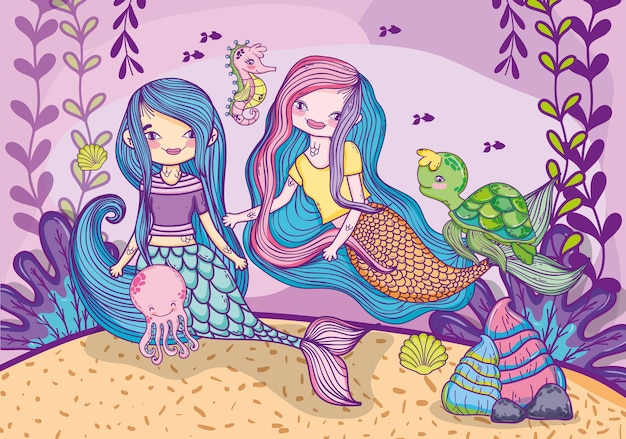 Mermaids friends under water with animals