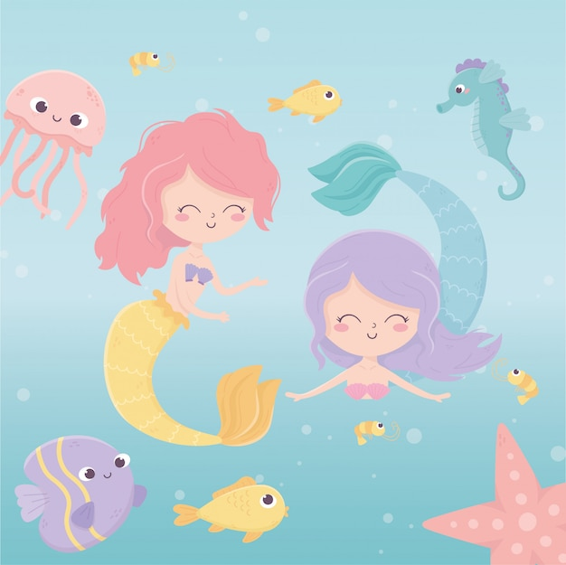Mermaids jellyfish octopus starfish fishes shrimp cartoon under the sea vector illustration