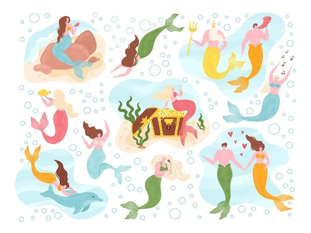 바다 요정의 인어는 신화적인 바다 생물과 함께 해양 테마로 설정됩니다. 물고기 꼬리, 돌고래, 해초가있는 인어. 물 귀여운 소녀와 판타지 남자 컬렉션, 바다 신 수영.
