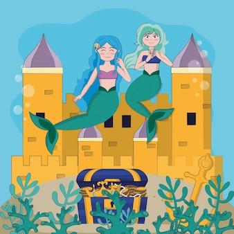 Mermaids under sea on magic castle cartoons