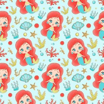 Mermaids seamless pattern. underwater seamless pattern