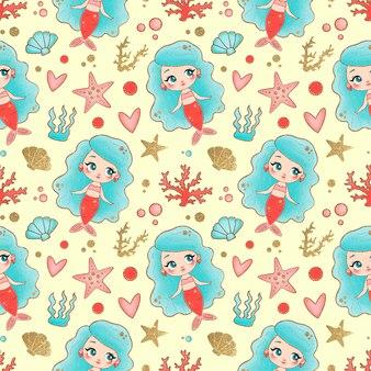 Mermaids seamless pattern. underwater seamless pattern.