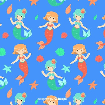Mermaids swimming pattern flat design