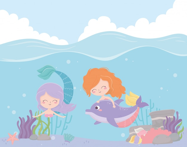 Mermaids with dolphin reef coral cartoon under the sea vector illustration