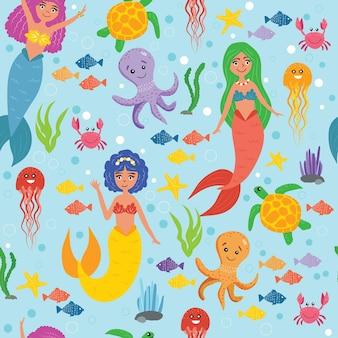 바다 원활한 패턴에 바다 동물과 인어. 물 속에서 생활입니다. 귀여운 인어, 문어, 게, 바다 거북, 해파리, 물고기. 어린이용 배경 화면. 해양 패턴입니다. 벡터 일러스트 레이 션
