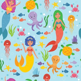 Mermaids with sea animals in the sea seamless pattern. life under water. cute mermaids, octopus, crab, sea turtle, jellyfish, fish. wallpapers for children. marine pattern. vector illustration