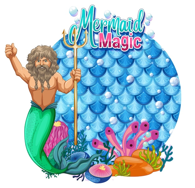 Merman carton character with blank pastel scales banner isolated