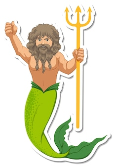 A merman holding trishula cartoon character sticker