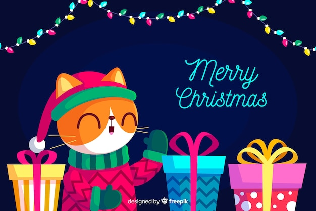 フラットデザインのmerrクリスマス背景