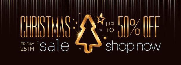 Веселая рождественская распродажа горизонтальный баннер с золотой рождественской елкой и украшением на темном фоне