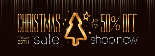 Merrry christmas sale horizontal banner with golden xmas tree and decoration on dark background
