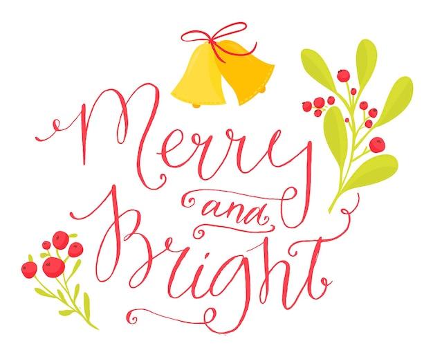 Веселая и яркая рождественская открытка с каллиграфией в винтажном стиле красные буквы ветки ягод рябины