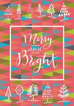 メリーとブライトの手描きの書道グリーティングカード