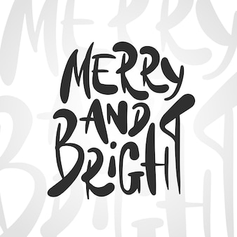 Векторная надпись фразу merry and bright