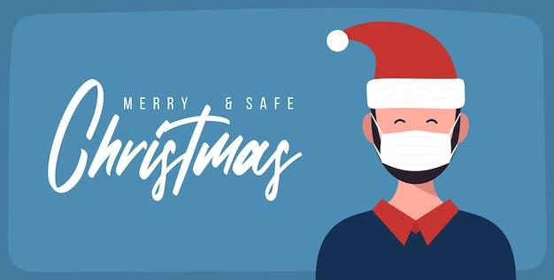 Счастливого и благополучного рождества. бизнесмен в шляпе санта-клауса, носить защитную маску для лица