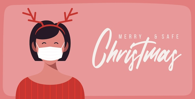 Счастливого и благополучного рождества. женщина в шляпе оленьих рогов в защитной маске