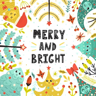 Merry and bright card with cute christmas trees
