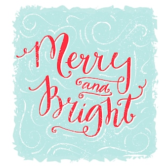 Merry and bright lettering christmas greeting card red text on blue vintage style design