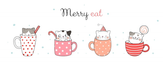 Merry cat. cute cats in cup of coffee and tea for christmas day.