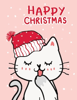 Merry catmas, christmas greeting card, cute naughty cat with santa red hat, snowfalling in deep blue background