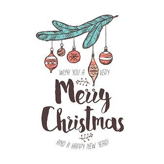 タイポグラフィ、テキスト、書道を備えたメリークリットマスと新年あけましておめでとうございます線形エンブレム。お祝いの落書き