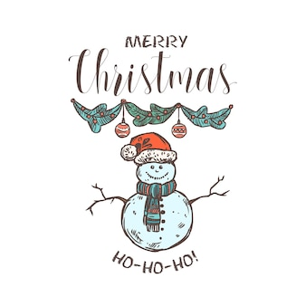 Merry chridtmas linear emblem with typography, text and calligraphy. festive doodle label, tag or logo for greeting card or banner with garland and snowman