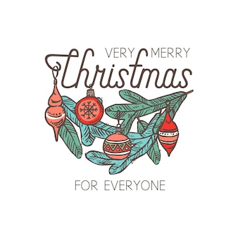 Merry chridtmas linear emblem with typography, text and calligraphy. festive doodle label, tag or logo for greeting card or banner with spruce branch and decorations