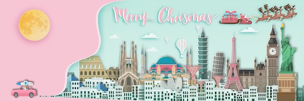 Merry chrismas around the world  in paper art style.