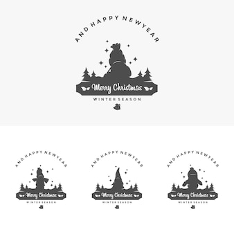 Merry chrismas and happy new year design template illustration vector silhoute