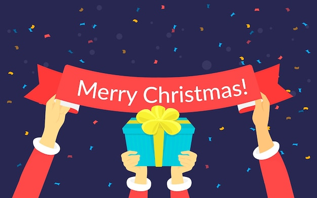Merry chrismas letters vector illustration of happy people wearing santa clothes hold in their hands ribbon with merry xmas text and gift. greeting background with confetti for website, banner, flyer