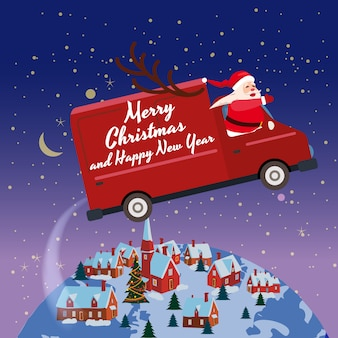 Merry chrismas santa claus van flies through the night sky above the earth winter town