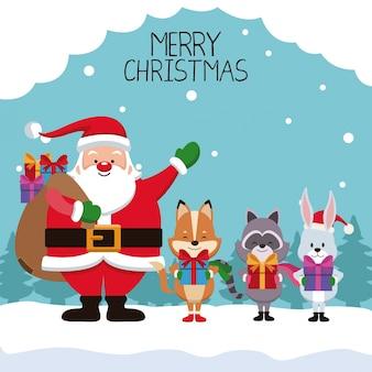 Merry chrismtas card cartoon