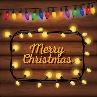 Merry christams card with lights