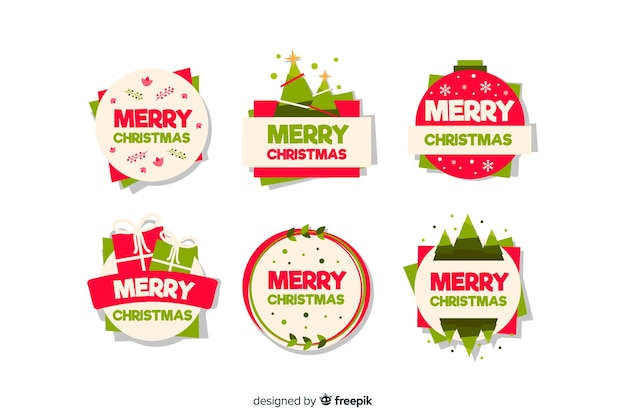 Merry christman badge collection flat design style