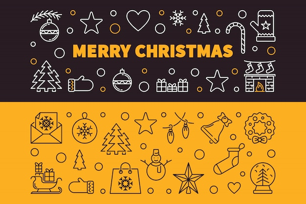 Счастливого рождества 2 наброски баннеров. векторная иллюстрация рождество