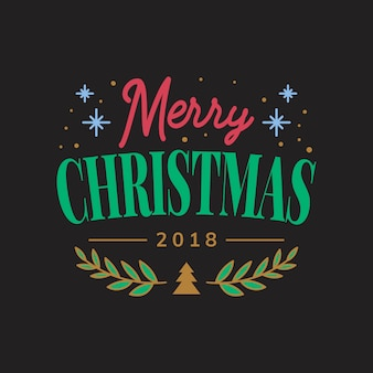 Merry christmas 2018 greeting badge