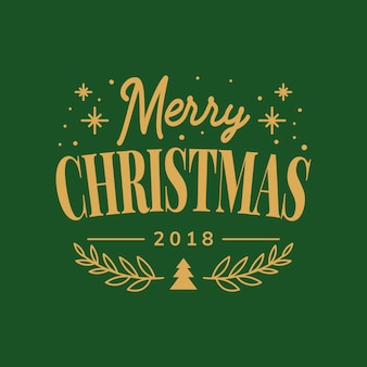 Merry Christmas 2018 greeting badge