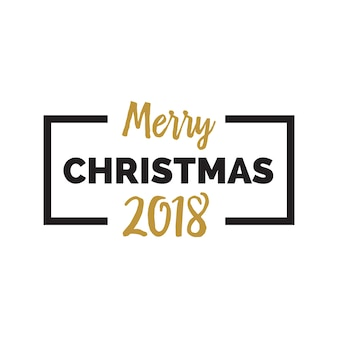 Merry christmas 2018 lettering in frame