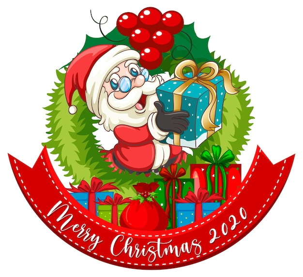 Merry christmas 2020 card with santa claus holding a gift box