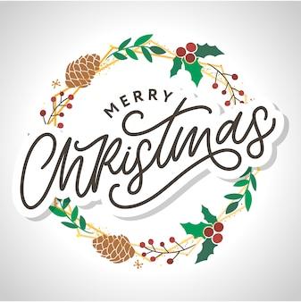 メリークリスマス2021書道の黒いテキストの単語と美しいグリーティングカードのポスター。手描きのデザイン要素。分離された白い背景の手書きのモダンなブラシレタリング