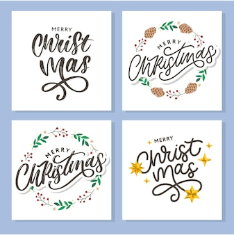 Merry christmas 2021 beautiful greeting card poster with calligraphy black text word