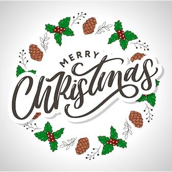메리 크리스마스 2021 서 예 검정 텍스트 단어로 아름 다운 인사말 카드 포스터.