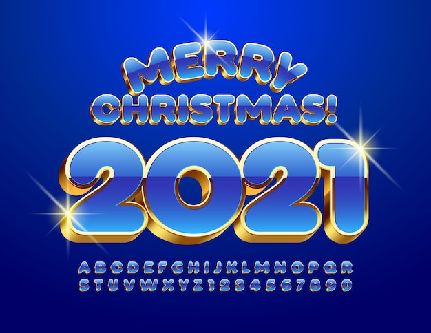 Merry christmas 2021. blue and gold 3d font. alphabet letters and numbers set