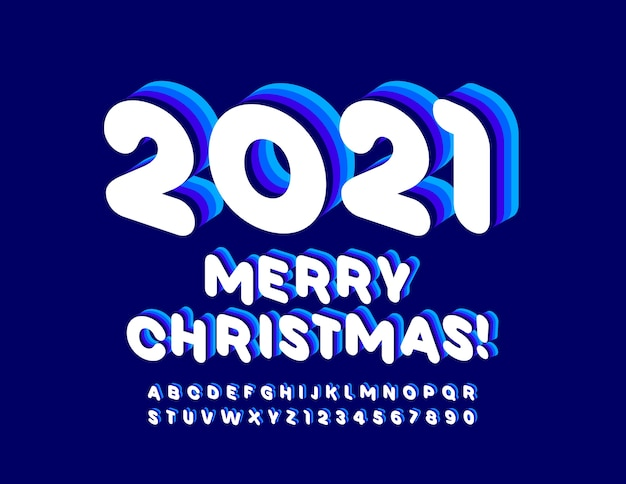 Merry christmas 2021. creative 3d font. blue and white alphabet letters and numbers set.