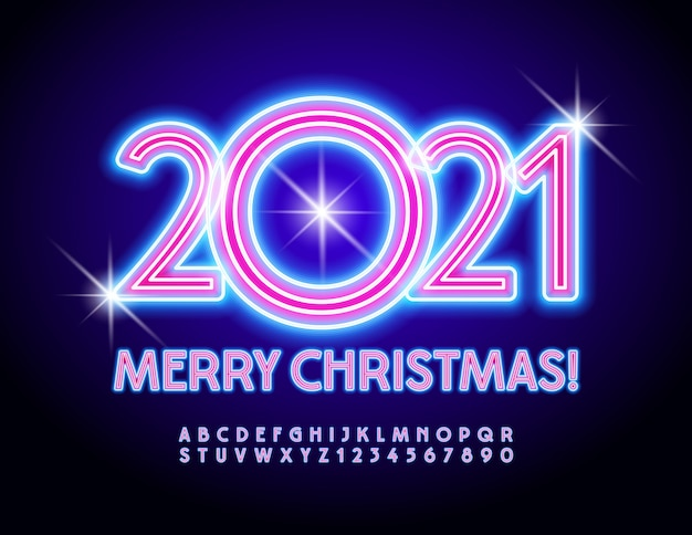 Merry christmas 2021. electric light font. neon alphabet letters and numbers