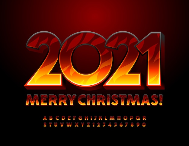 Merry christmas 2021 greeting card. bright hot font. burning alphabet letters and numbers