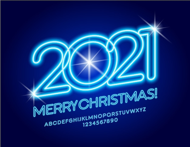 Merry christmas 2021 greeting card. neon blue font. glowing alphabet letters and numbers