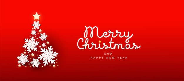 Merry christmas and 2021 happy new year horizontal banner with decor snow on christmas tree